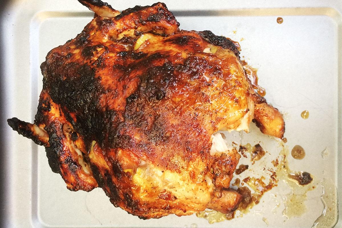 Hier sehen Sie: Das fertige Hühnchen